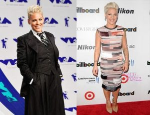 pink in a dress and suit